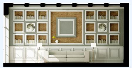 White style sofa in vintage room. 3D illustration