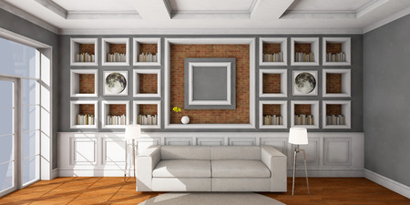 White style sofa in vintage room. 3D illustration