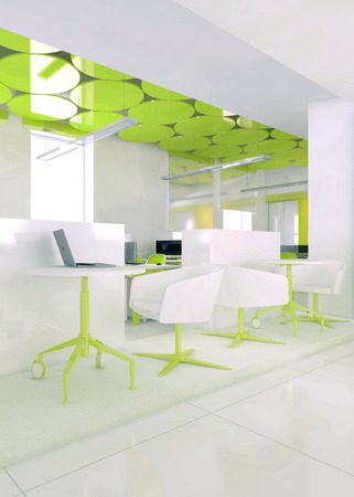 Perspective view of a color office interior with a row of white tables. 3d rendering. Фото со стока