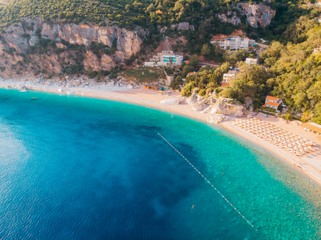 Aerial view of the beaches of the Adriatic coast in Montenegro Imagens