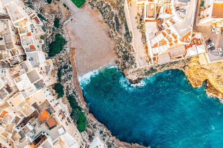 Top view beach of Polignano a Mare on summer day without people Reklamní fotografie