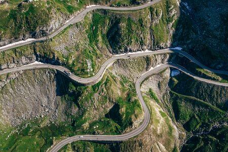 Aerial View of Transfagaras mountain road in Transylvanian Carpathian, Romania