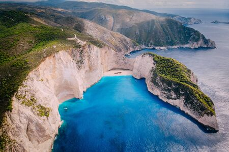Aerial panoramic view of famous shipwreck beach Zakynthos, Greece