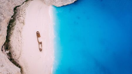 Aerial View Navagio Bay Shipwreck Beach Greece, Zakynthos