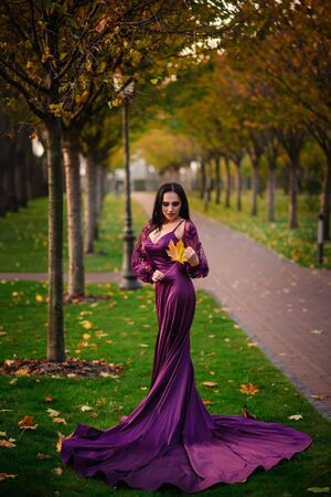 Young woman in luxurious dress is standing in autumn park Banque d'images - 133678350