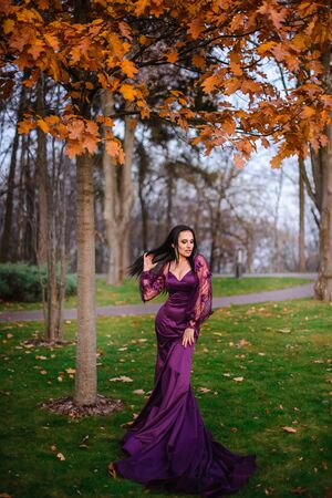 Young woman in luxurious dress is standing in autumn park Banque d'images - 133678365