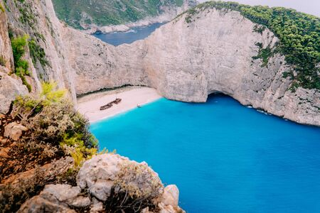 View Navagio Bay Shipwreck Beach Greece, Zakynthos Banque d'images - 133678551