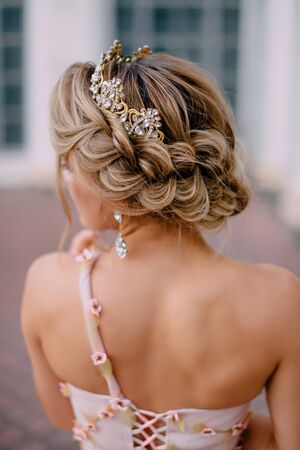 Close-up hairstyle of bride with braided hair, rear view Banque d'images - 133678560