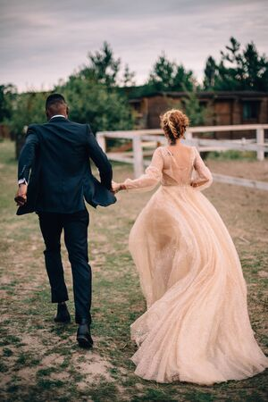 Newlyweds running holding hands on a ranch, rear view Banque d'images - 133678576