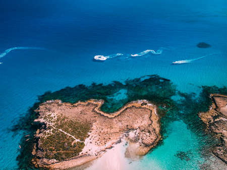 Aerial view of beautiful beach of Mediterranean, Nissi beach in Ayia Napa
