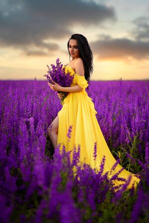 A beautiful young woman in a yellow dress is standing in a blooming purple field. Full-length portrait. Imagens