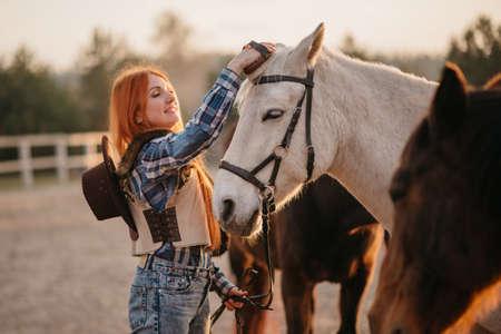 Young woman farmer combing a horse at the ranch. Medium shot. 免版税图像