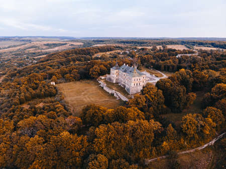 Aerial view of an autumn landscape with an old castle. Ukraine, Pidhirtsi.