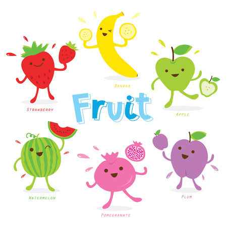 fruit juices: Cute Fruit Cartoon Vector