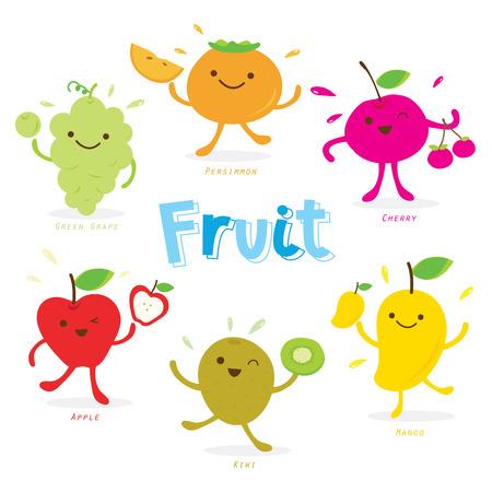 comiendo frutas: Vector lindo Historieta de la fruta