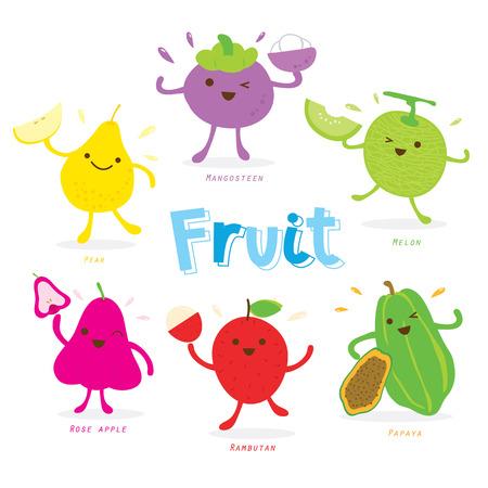 caras graciosas: Vector lindo Historieta de la fruta