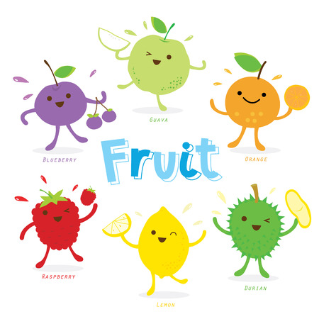 guava fruit: Cute Fruit Cartoon Vector
