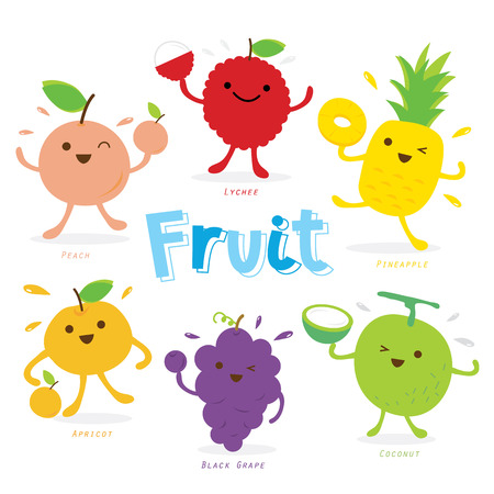 Cute Fruit Cartoon Vector Stok Fotoğraf - 37229370