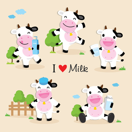 cow cartoon: Cow Cute Character Cartoon Design Illustration