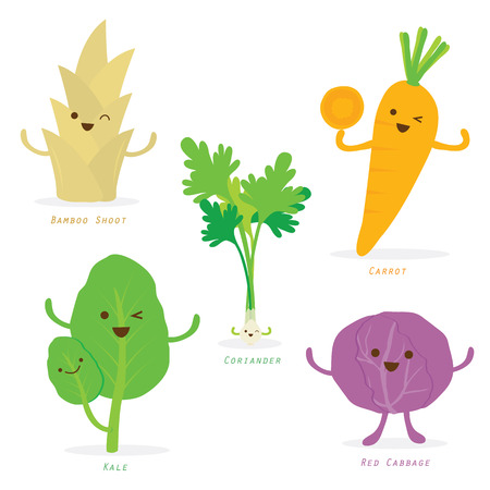 carrot isolated: Vegetable Cartoon Cute Set Bamboo Shoot Carrot Kale Cabbage Coriander Vector