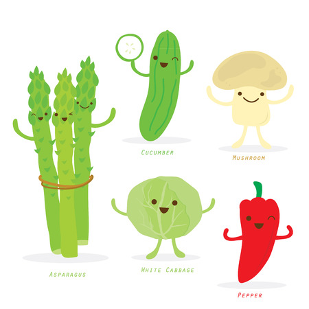 vegetable cartoon: Cartoon vegetal Conjunto lindo Esp�rragos pepino pimienta col Mushroom Vector