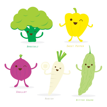 Vegetable Cartoon Cute Set Sweet Pepper Broccoli Shallot Radish Bitter Gourd Vector