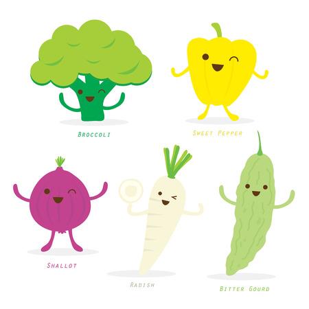 vegetable cartoon: Vegetal Historieta linda del Conjunto Sweet Pepper Br�coli Chalota R�bano calabaza amarga Vector
