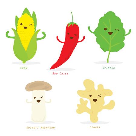 Plantaardige Cartoon Leuke Set Red Chili Corn Spinazie Ginger Eringii Mushroom Vector