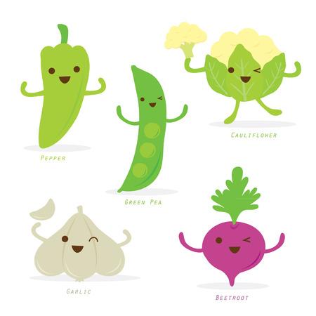 vegetable cartoon: Cartoon vegetal Conjunto lindo pimienta verde guisante Coliflor Ajo Remolacha Vector Vectores