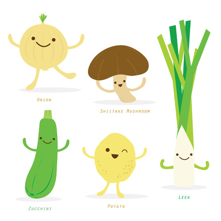 leeks: Vegetable Cartoon Cute Set Shiitake Mushroom Onion Potato Leek Zucchini Vector