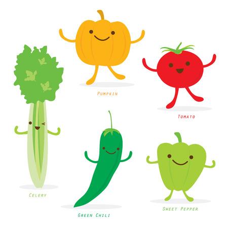 Vegetable Cartoon Cute Set Pumpkin Tomato Green Chili Sweet Pepper Celery Vector