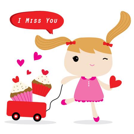 girl cute: Love Girl Cute Cartoon Character Vector Illustration