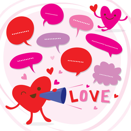 Heart Speak Love To Sweetheart Cute Cartoon Vector Illustration