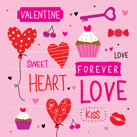 cartoon kiss: Valentine I Love You Sweetheart Cute Cartoon Vector Illustration