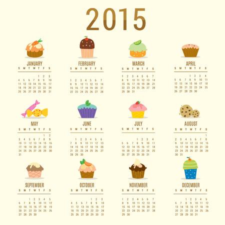 Calendar 2015 Cupcake Cartoon Cute Vector
