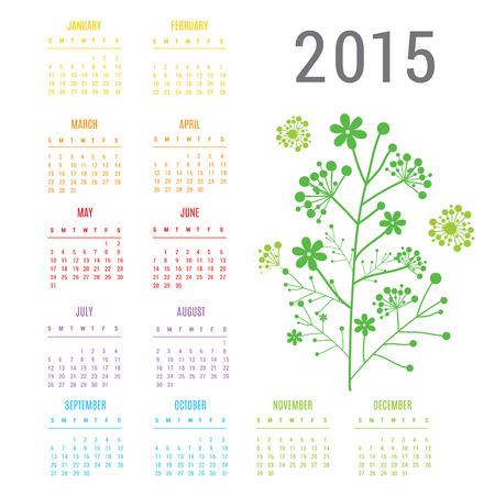 Calendar 2015 Flower Vector