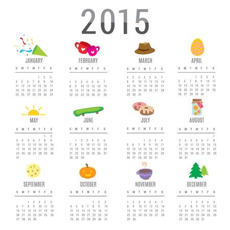 Calendar 2015 Cartoon Cute Vector Illustration