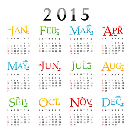 Happy New Year Calendar 2015 Vector Illustration