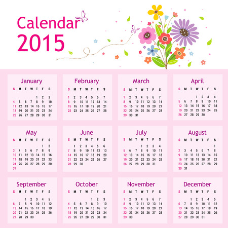 febuary: Happy New Year Calendar 2015 Vector Illustration