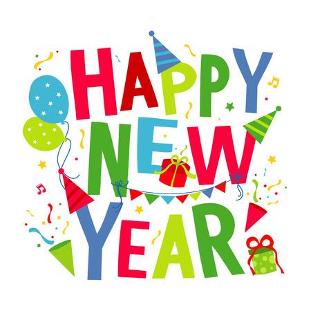 newyear card: Happy New Year Text Cartoon Vector