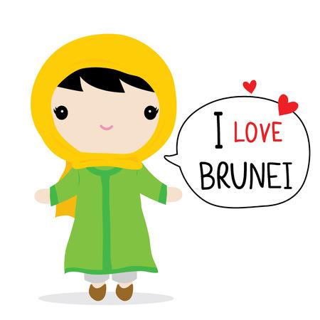 brunei: Brunei Women National Dress Cartoon Vector
