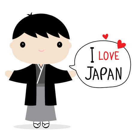 Japan Men National Dress Cartoon Vector