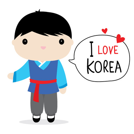 Korea Men National Dress Cartoon Vector