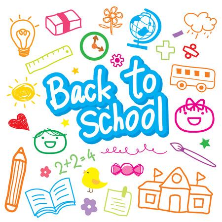 Back To School Draw Kid Cute Cartoon Vector Design Illustration