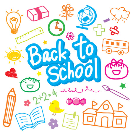 kid vector: Volver a la escuela Dibuja Kid Diseño lindo de la historieta del vector