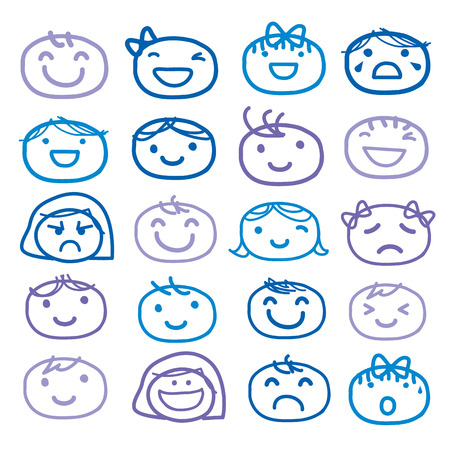 Face Kids Draw Emotion Feeling Icon Cute Cartoon Vector Design Çizim