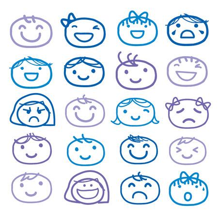 Face Kids Draw Emotion Feeling Icon Cute Cartoon Vector Design Illustration