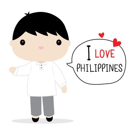 Philippines Men National Dress Cartoon Vector Illustration