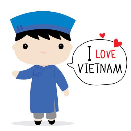trouser: Vietnam Men National Dress Cartoon Vector
