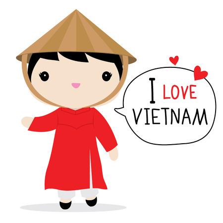 베트남 여성 국립 드레스 만화 벡터